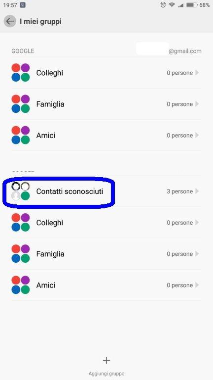 nascondere contatti Android