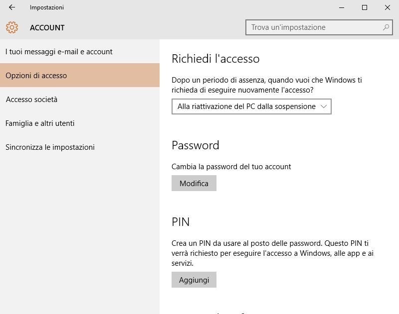 come eliminare password in windows 10